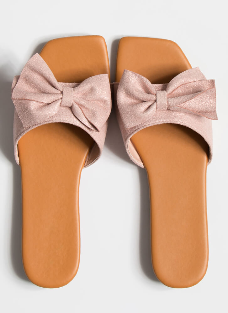 You Bow Girl Faux Suede Slide Sandals PINK