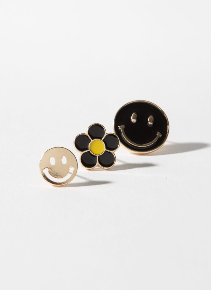 Smile Happy Face And Flower Earring Set BLACK