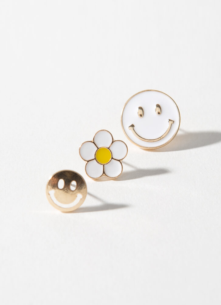 Smile Happy Face And Flower Earring Set WHITE