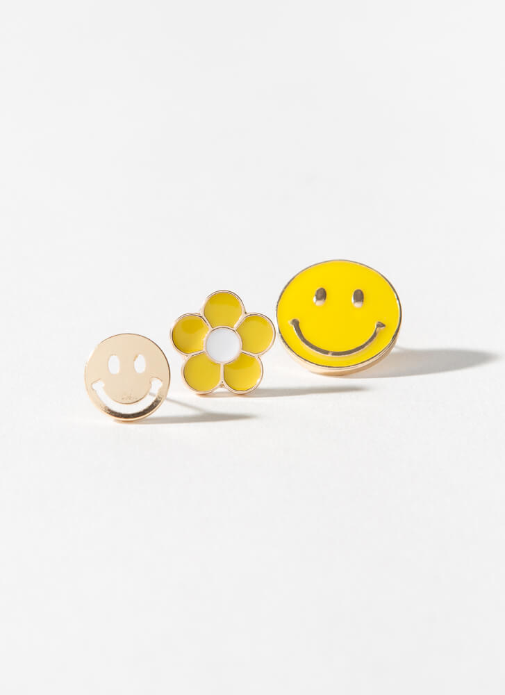 Smile Happy Face And Flower Earring Set YELLOW