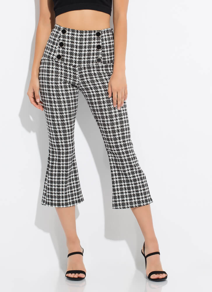 Houndstooth Flare Cropped Buttoned Pants BLACKWHITE