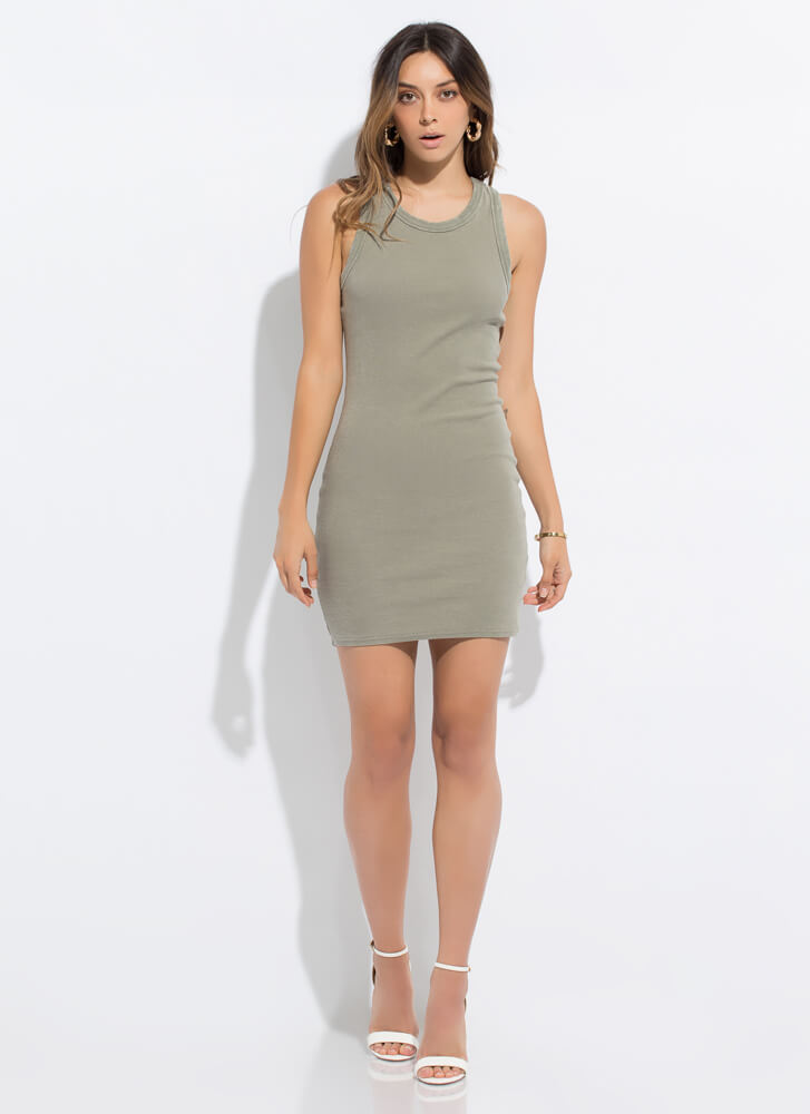 Tanks For Everything Rib Knit Dress OLIVE