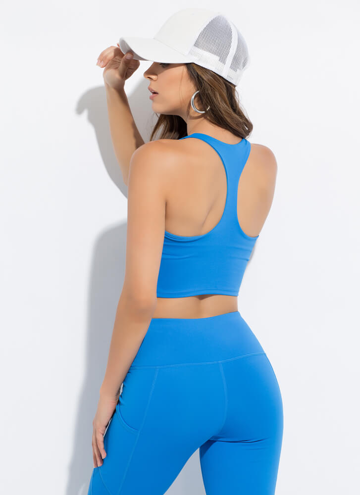New Gym Cropped Racerback Tank Top BLUE