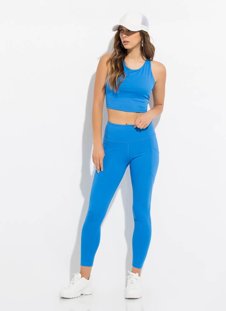New Gym Pocketed High-Waisted Leggings BLUE