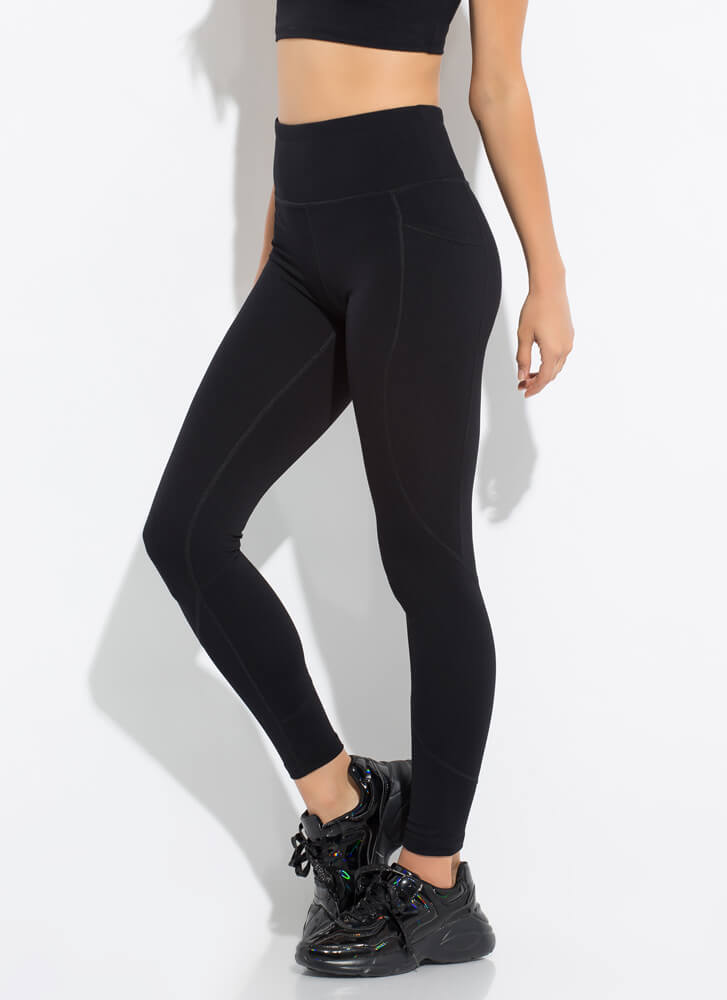 The Daily Grind Pocketed Leggings BLACK