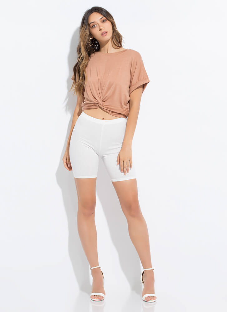 Knot Another Twist Cropped Cuffed Tee BRINDLE