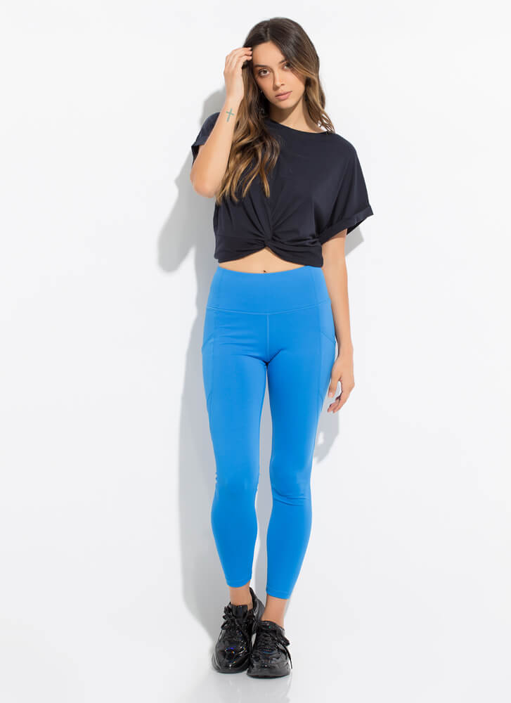 Knot Another Twist Cropped Cuffed Tee DKNAVY