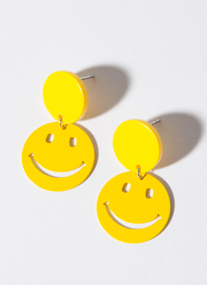 Smile I'm On Camera Happy Face Earrings YELLOW