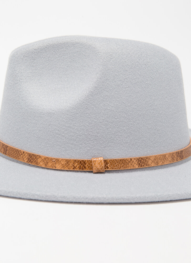 Hiss And Hers Felted Snake Trim Fedora BLUE