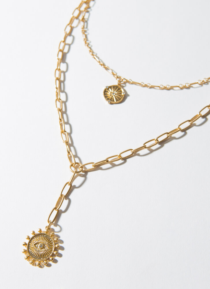 Celestial Bodies Layered Charm Necklace GOLD