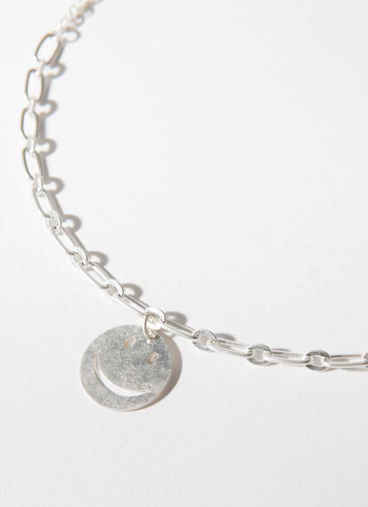 All Smiles Happy Face Chain Necklace SILVER