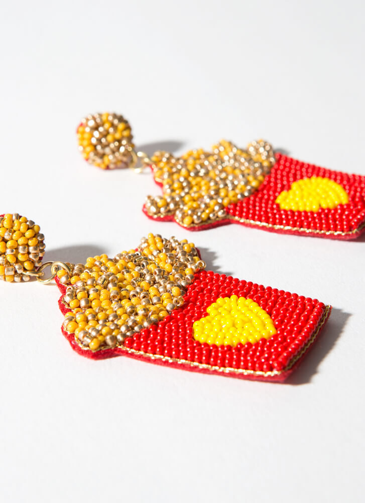I Love French Fries Beaded Earrings RED