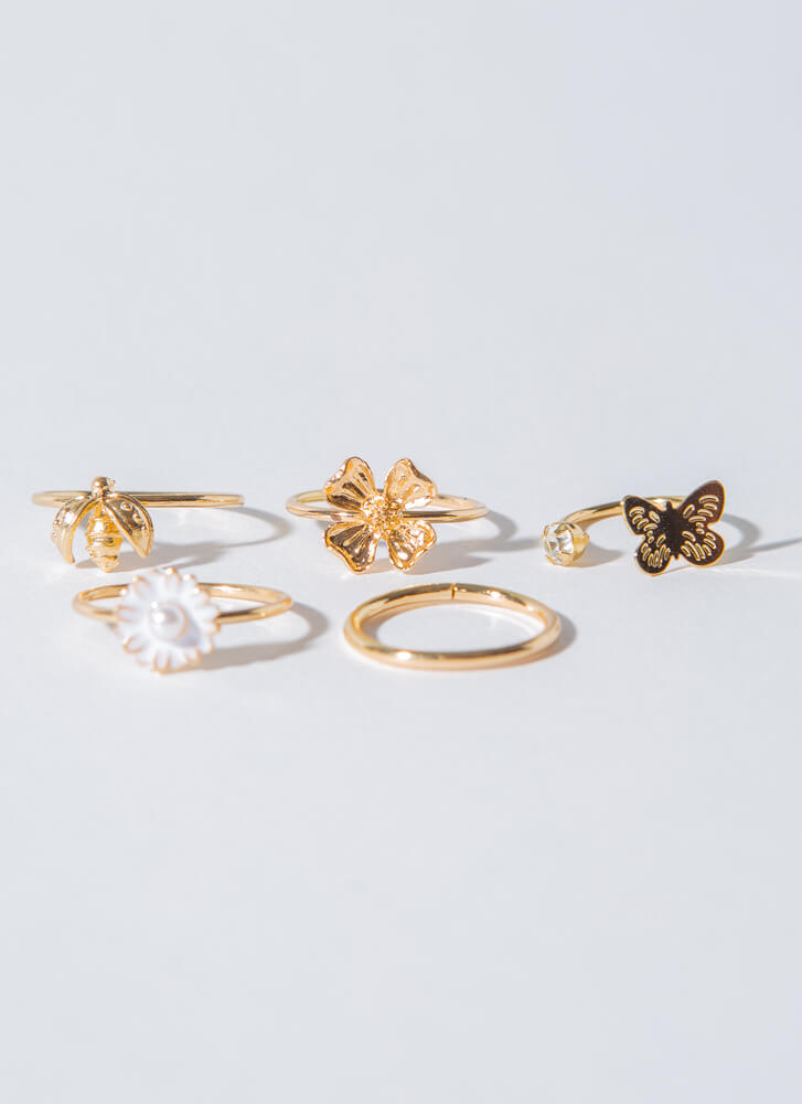 Bees And Butterflies Flower Ring Set GOLDWHITE (Final Sale)