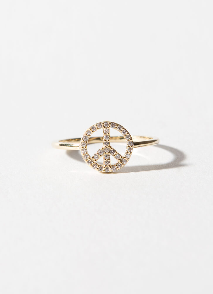 Love And Peace Sign Jeweled Ring GOLDCLEAR