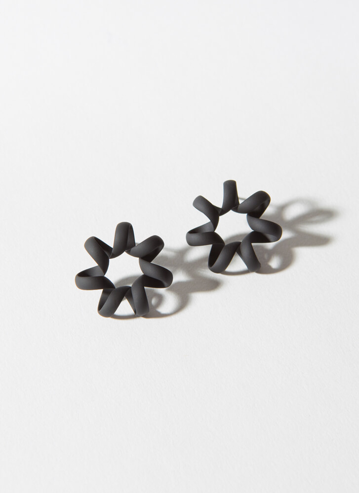 Squiggle Matte-Coated Coiled Earrings BLACK