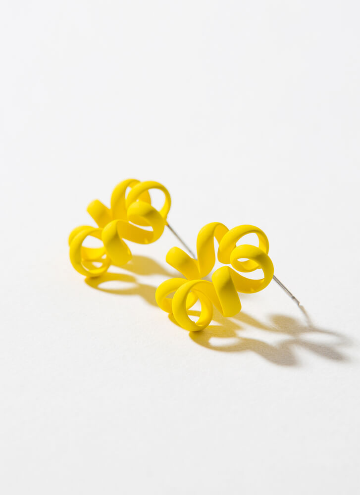 Squiggle Matte-Coated Coiled Earrings YELLOW