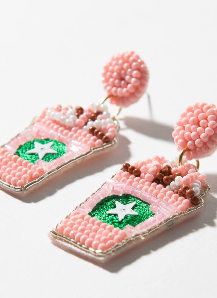 Strawberry Frappe Beaded Cup Earrings PINK