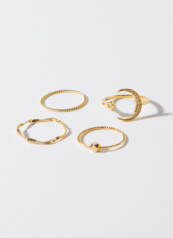 Over The Moon Skinny Ring Set GOLD