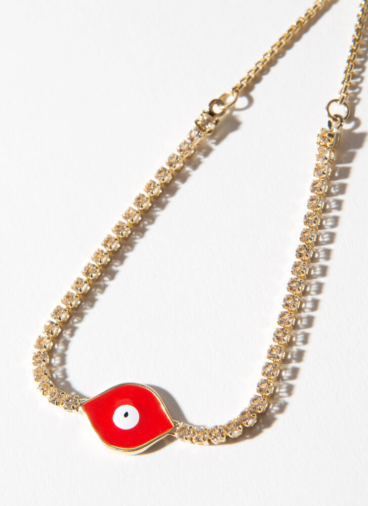 Eye And Mighty Jeweled Toggle Bracelet RED