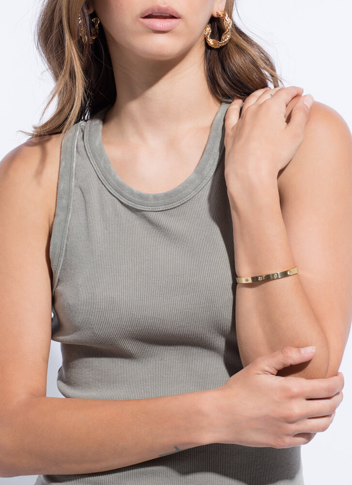 Simply Chic Jeweled Hinged Bracelet GOLD