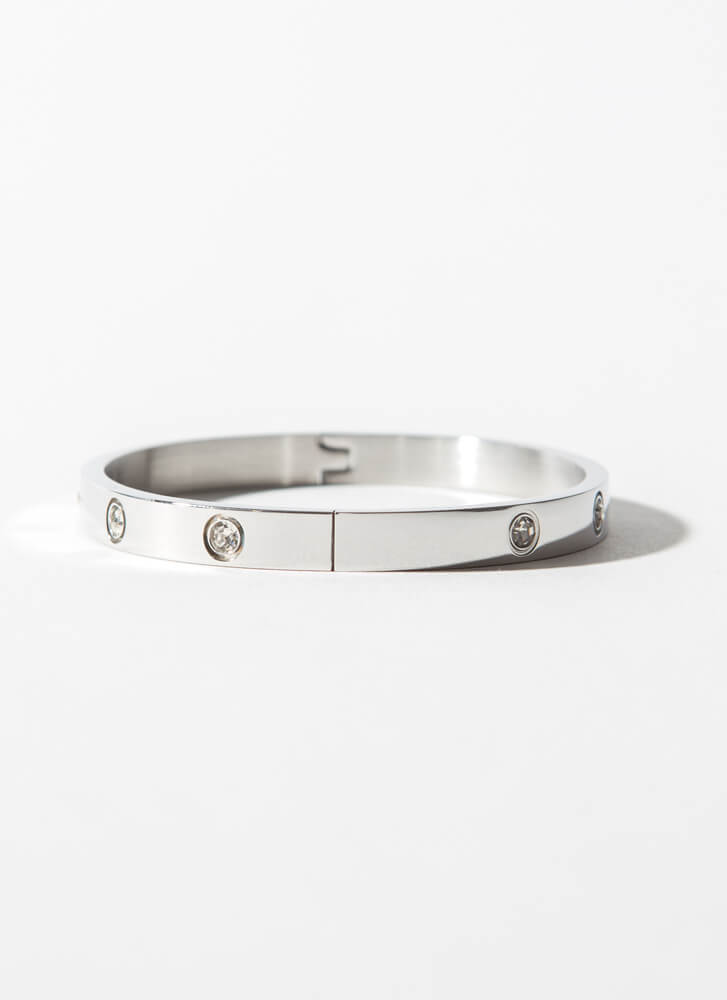 Simply Chic Jeweled Hinged Bracelet SILVER