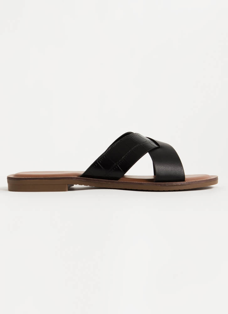 You Cross Me Scaled Strap Slide Sandals BLACK