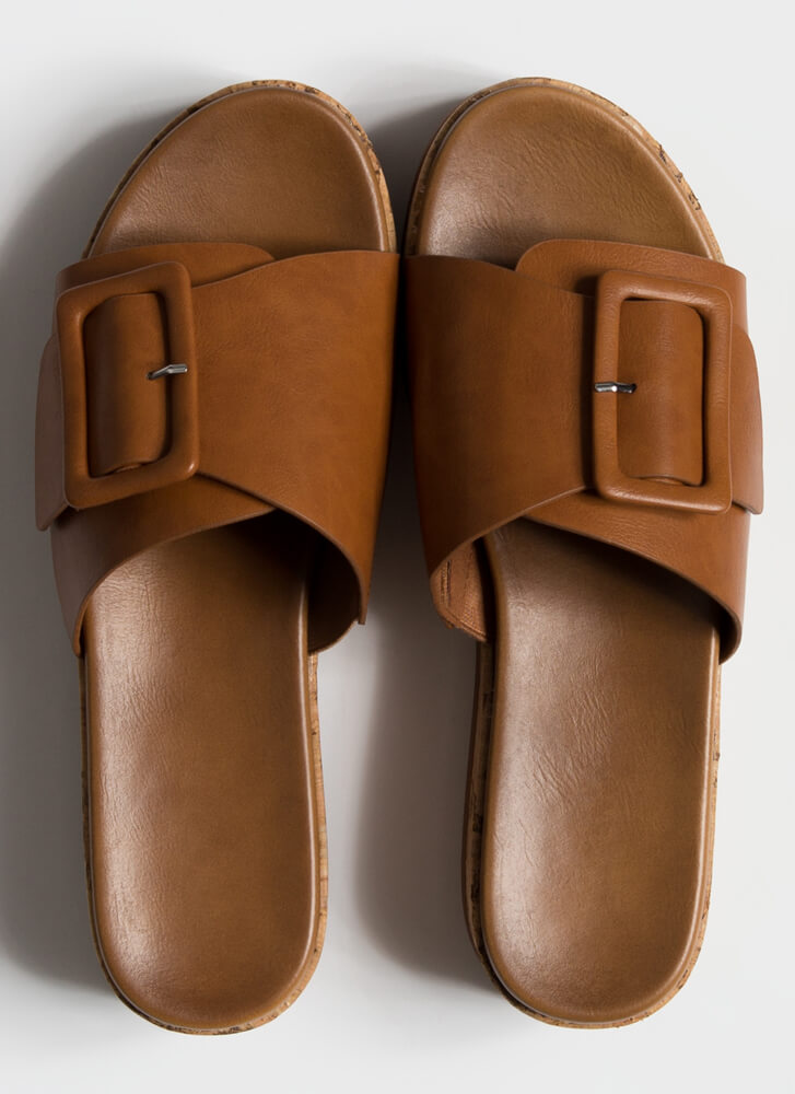 Big Buckle Babe Stacked Slide Sandals TAN
