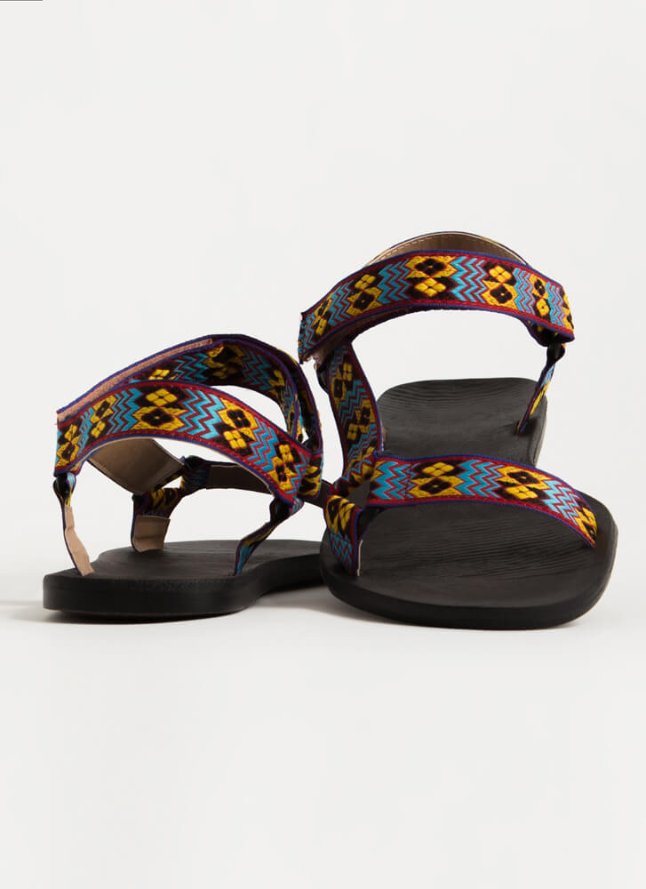 My Tribe Woven Strap Harness Sandals RED