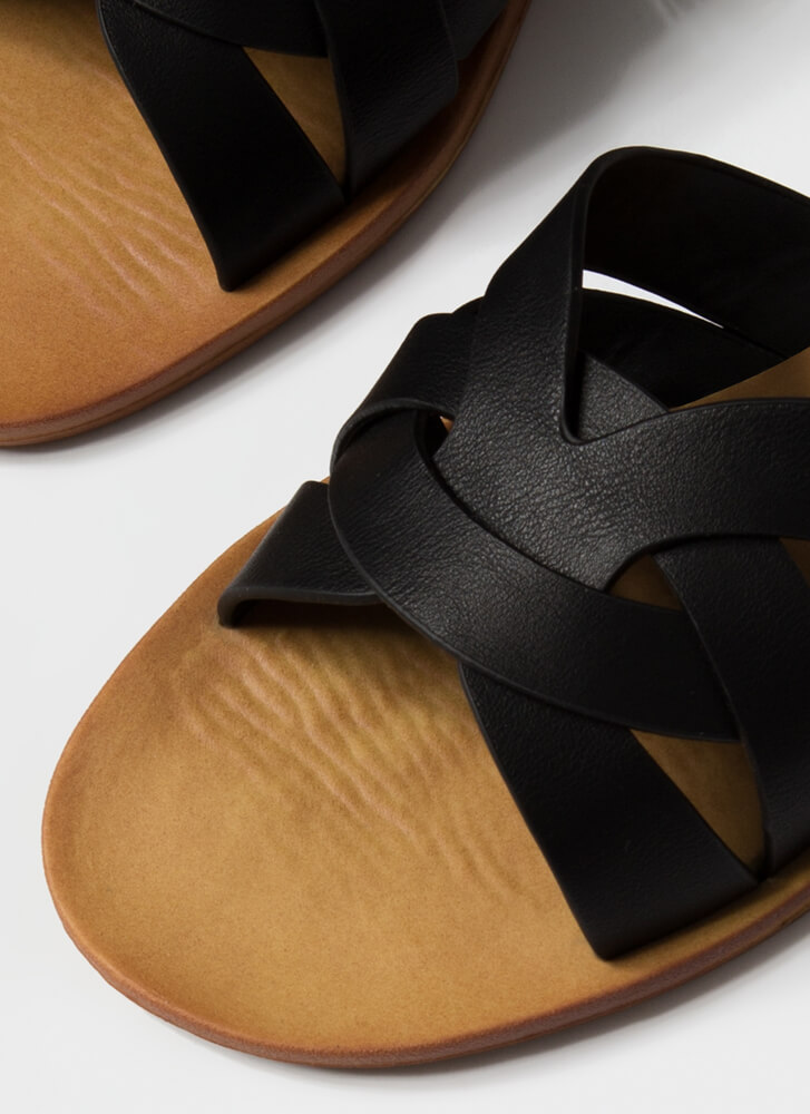 Style Points Strappy Woven Slide Sandals BLACK