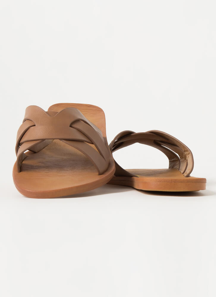 Style Points Strappy Woven Slide Sandals TAN