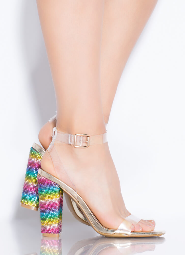 Clear Display Jeweled Color Chunky Heels GOLD