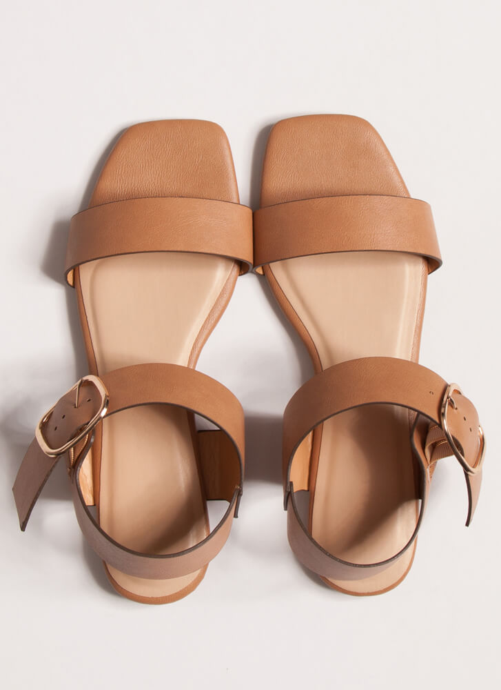 Chic In The City Wide Strap Sandals TAN