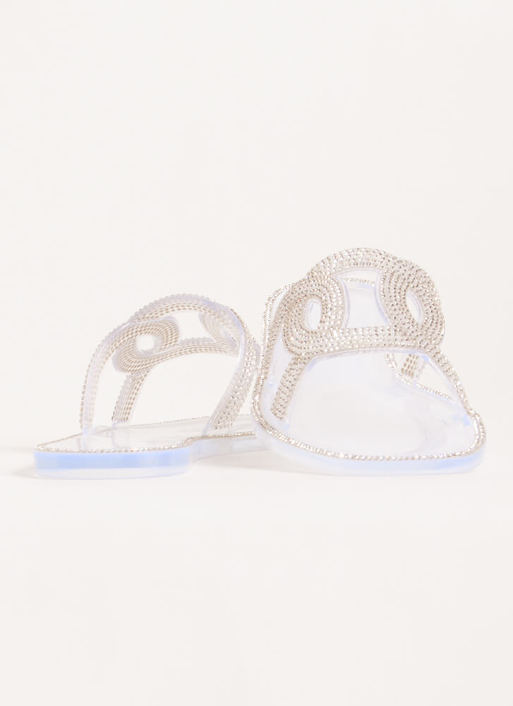 We're Linked Jeweled Jelly Slide Sandals CLEAR
