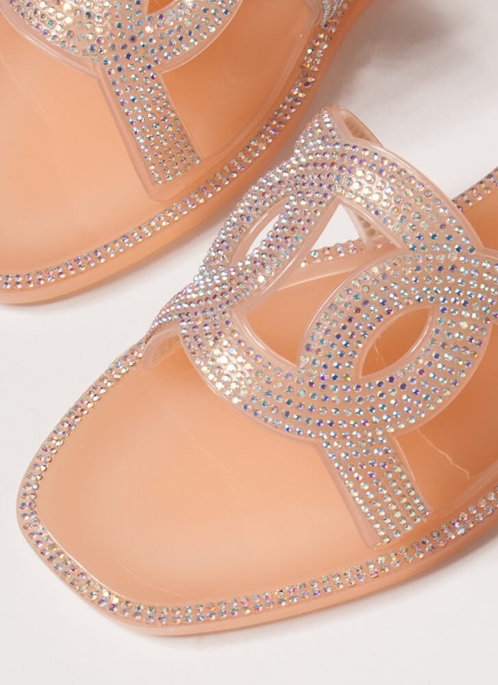 We're Linked Jeweled Jelly Slide Sandals NUDE
