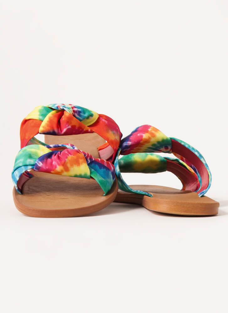I'm Knot Home Tie-Dye Slide Sandals RED