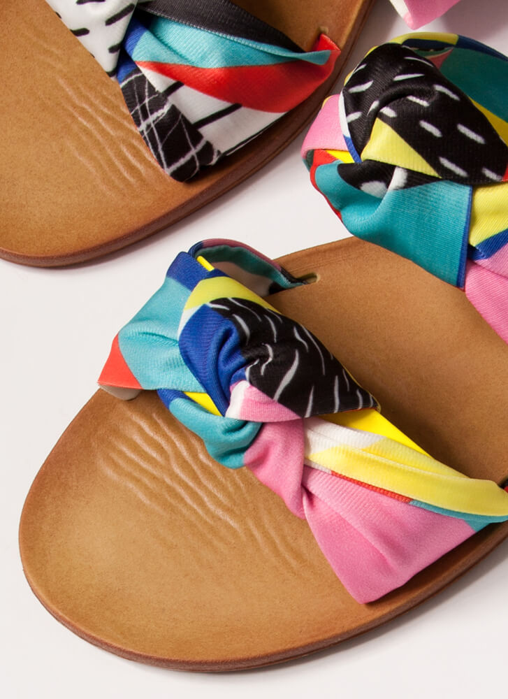 I'm Knot Home Patterned Slide Sandals YELLOW