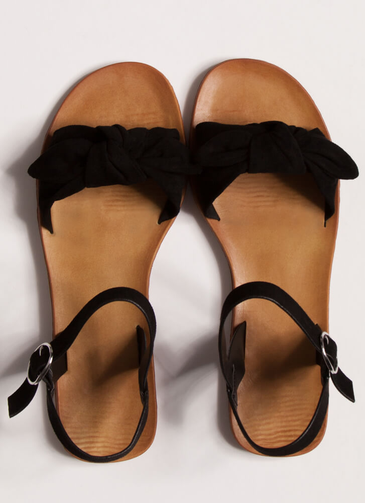 Cuties Knotted Faux Suede Sandals BLACK