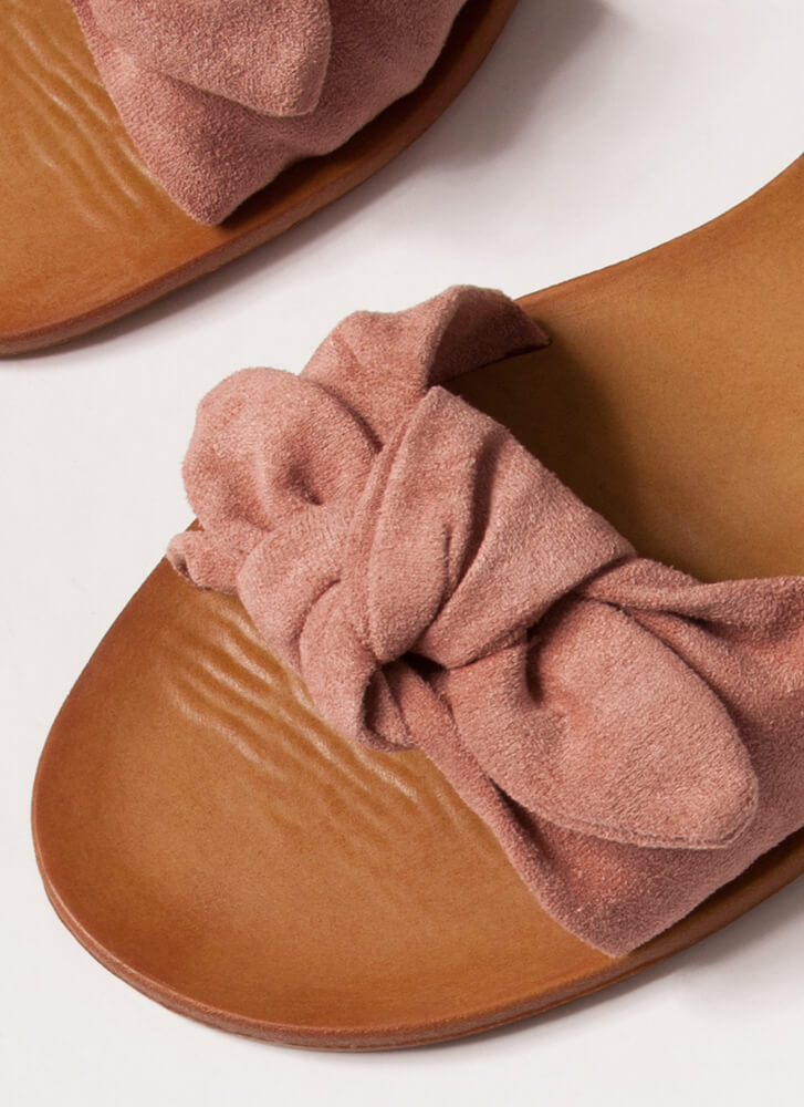 Cuties Knotted Faux Suede Sandals BLUSH