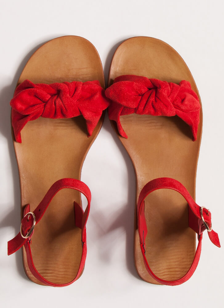 Cuties Knotted Faux Suede Sandals RED