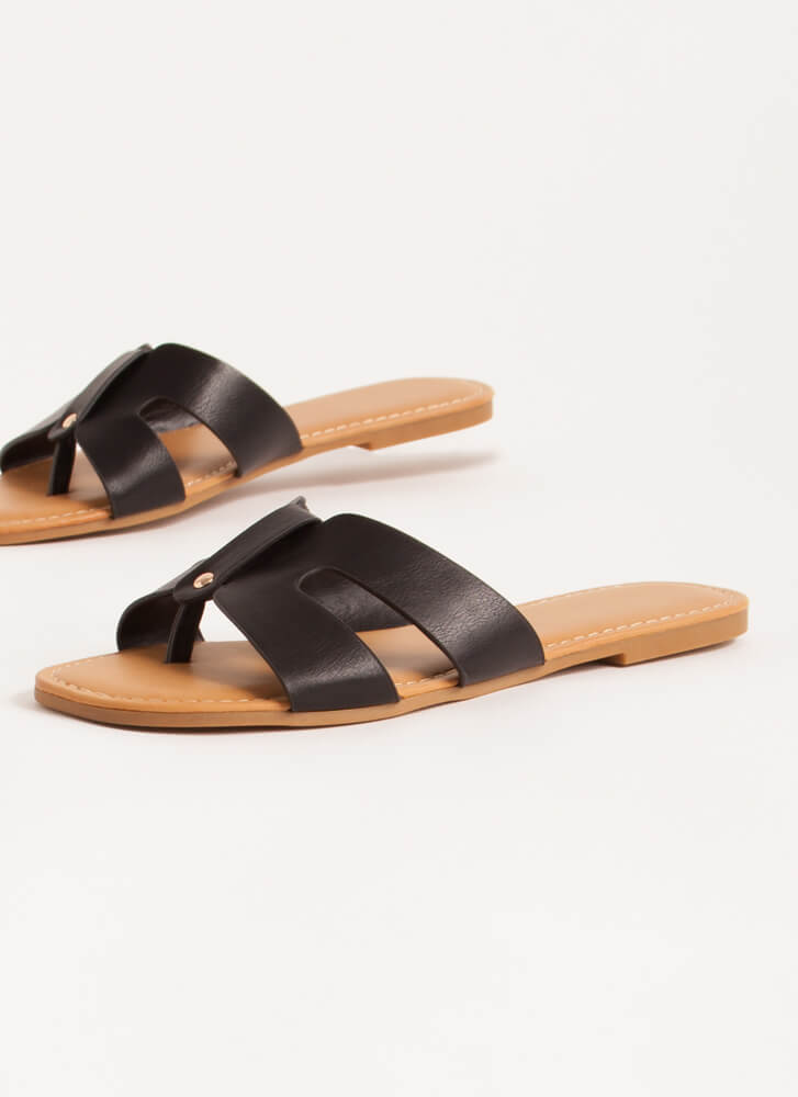 Butterfly Cut-Out Thong Sandals BLACK