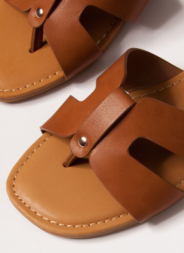 Butterfly Cut-Out Thong Sandals TAN