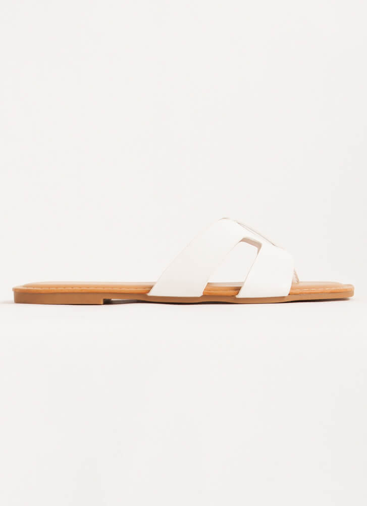 Butterfly Cut-Out Thong Sandals WHITE