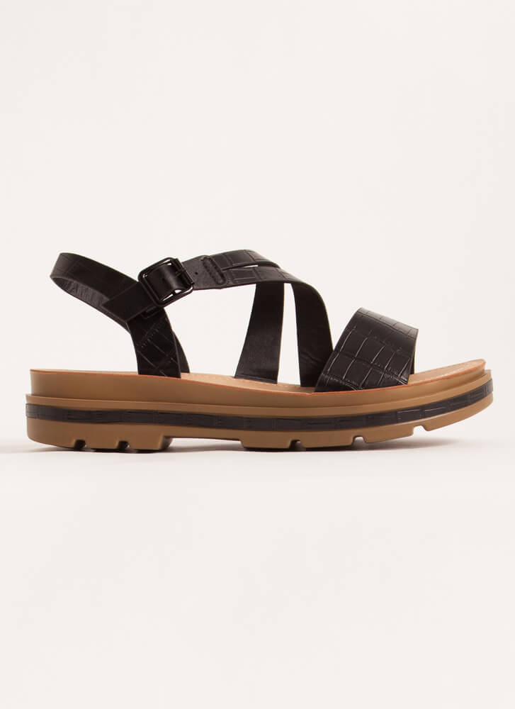Outing Strappy Reptile Platform Sandals BLACK