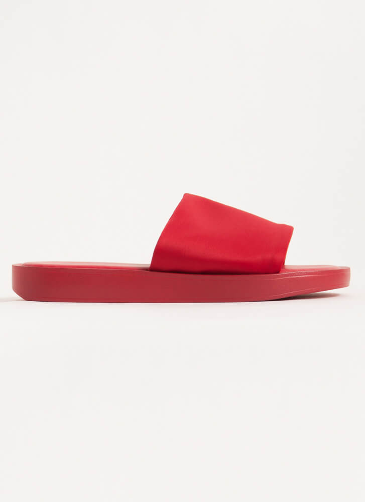 Slipping Out Solid Lycra Slide Sandals RED