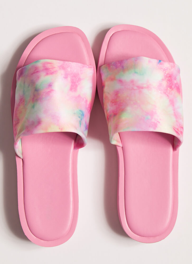 Slipping Out Tie-Dye Lycra Slide Sandals PINK