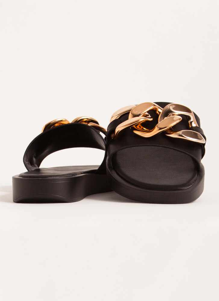 Linking Of Me Chain Accent Slide Sandals BLACK