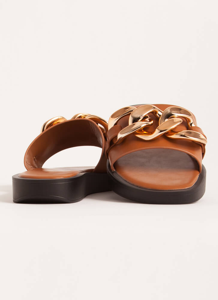 Linking Of Me Chain Accent Slide Sandals TAN