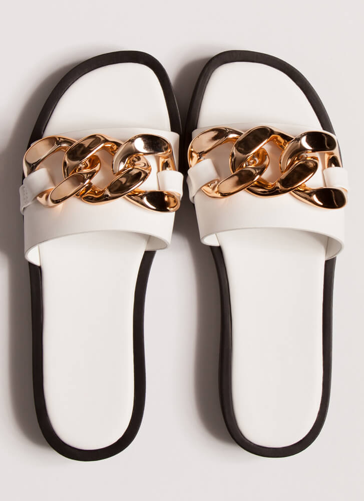 Linking Of Me Chain Accent Slide Sandals WHITE