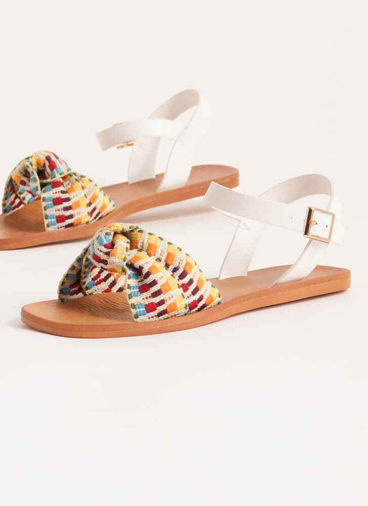 Boho Babe Knotted Woven Strap Sandals PASTEL