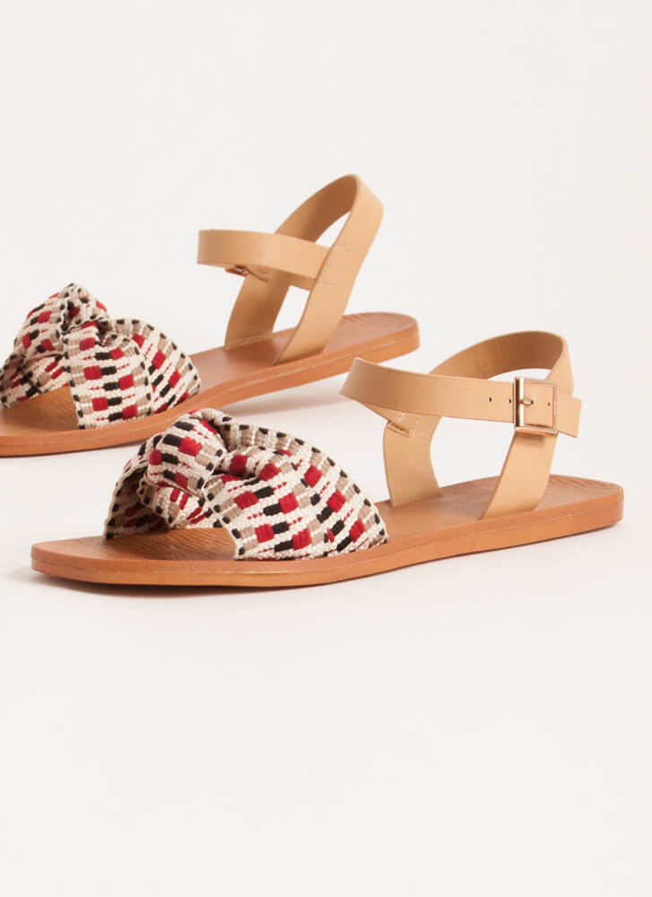 Boho Babe Knotted Woven Strap Sandals RED